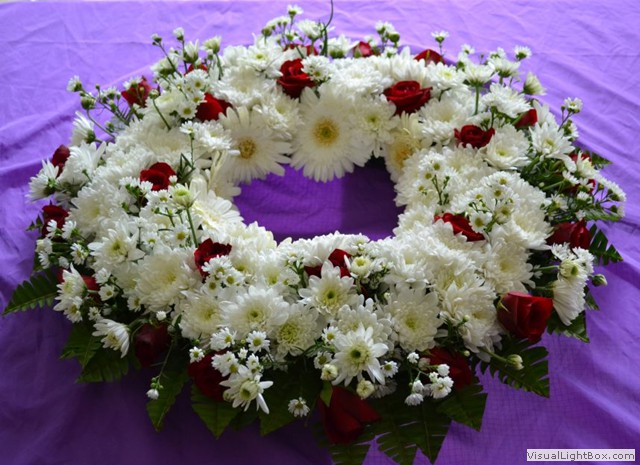 Funeral wreath - red roses and white chrysants