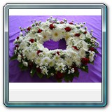 Mic-005 -  Price € 60 Funeral wreath - red roses and white chrysants