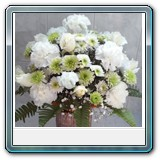 Mic-009 -  Price € 42 White roses green Chrysants and white carnations